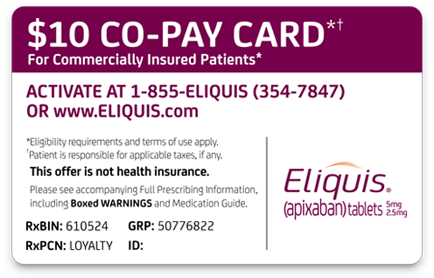 Request Your Printable Co Pay Card Rx Eliquis Apixaban